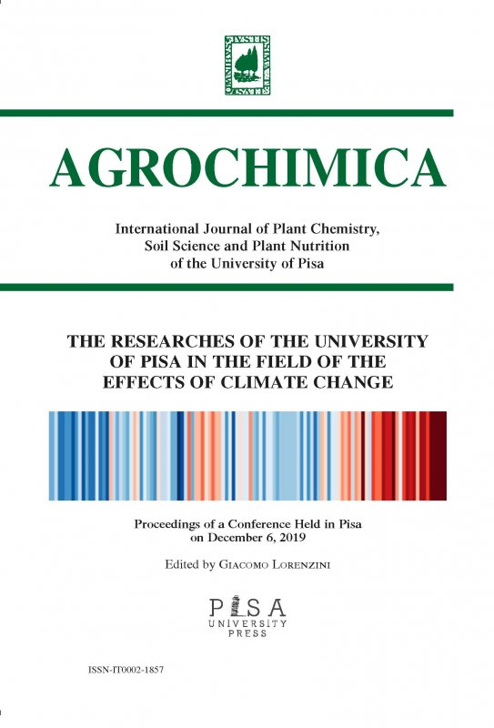 THE RESEARCHES OF THE UNIVERSITY OF PISA IN THE FIELD OF THE EFFECTS OF CLIMATE CHANGE