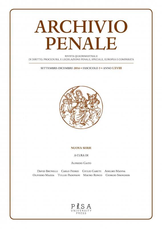 Archivio Penale n. 3/2016